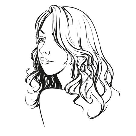 perfil de mujer rostro: Cara de la mujer hermosa dibujado a mano ilustración boceto