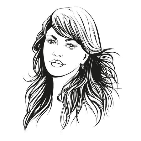 belle main de visage de femme illustration dessinée croquis Vecteurs