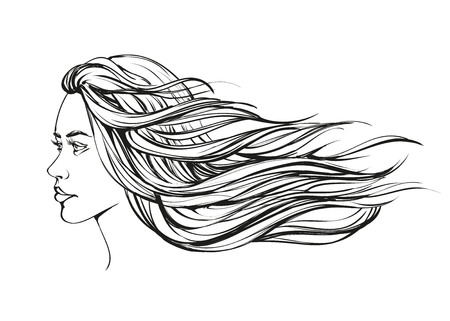 outline women: beautiful woman face hand drawn illustration sketch