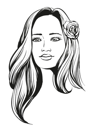 beautiful face: beautiful woman face hand drawn illustration sketch