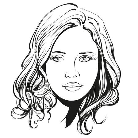 vrouw gezicht hand mooie getrokken illustratie schets Stock Illustratie