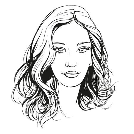 Bella donna faccia illustrazione disegnata a mano abbozzo Archivio Fotografico - 56637327