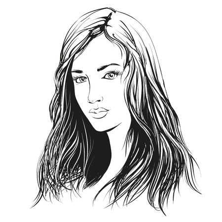 beautiful woman face hand drawn illustration sketch Imagens - 56637329