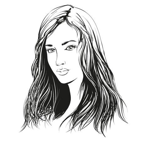 vrouw gezicht hand mooie getrokken illustratie schets