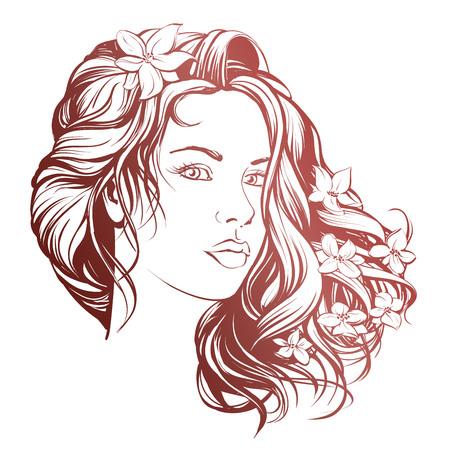 美しい女性の顔手描き下ろしイラスト スケッチ