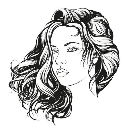 beautiful woman face hand drawn illustration  sketch