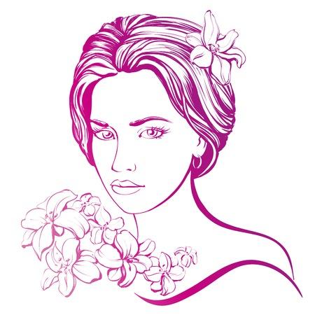 visage profil: belle main de visage de femme illustration dessinée croquis Illustration