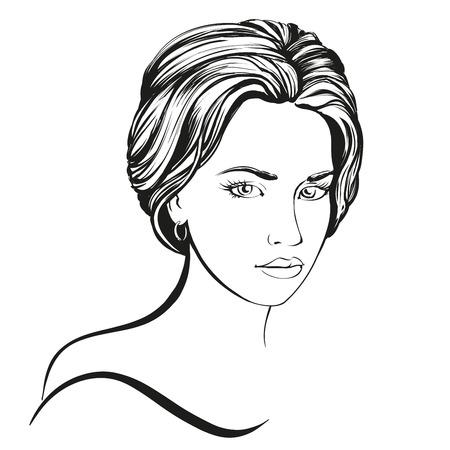Cara de la mujer hermosa dibujado a mano ilustración boceto