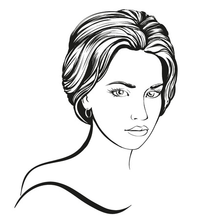 Cara de la mujer hermosa dibujado a mano ilustración boceto Foto de archivo - 56637337