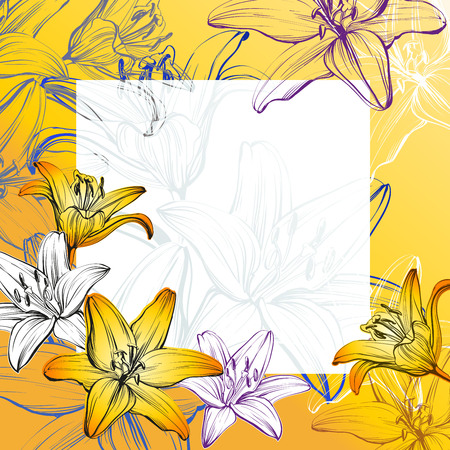 lush: abstract greeting card floral blooming lilies background hand drawn illustration sketch