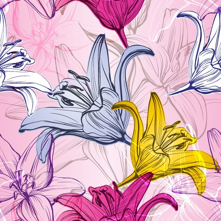 abstract floral blooming lilies background  texture hand drawn illustration sketch Illustration