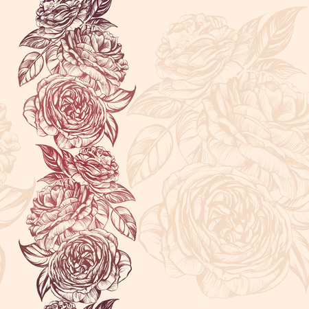 flowers bouquet: abstract floral blooming rose branch background texture hand drawn illustration sketch