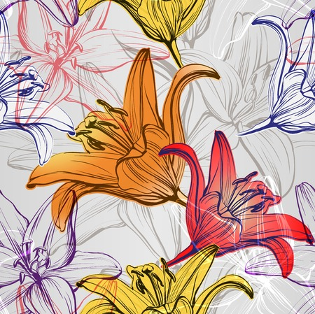 Abstract Floral gigli in fiore texture di fondo illustrazione disegnata a mano abbozzo