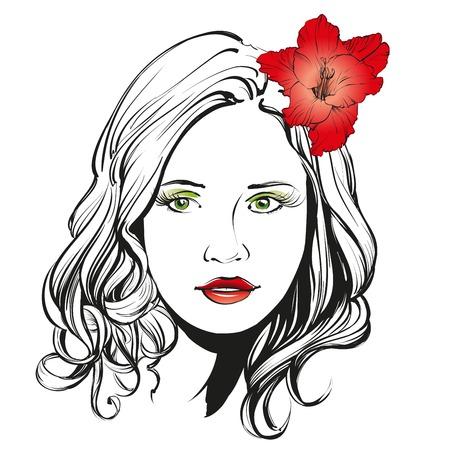 Bella donna faccia illustrazione disegnata a mano abbozzo Archivio Fotografico - 57614415