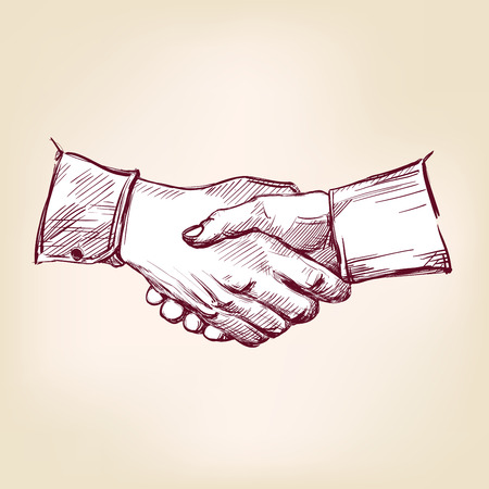 meet and greet: Handshake hand drawn vector llustration realistic sketch