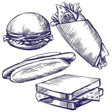 delicatessen: fast food set hand drawn vector llustration realistic sketch
