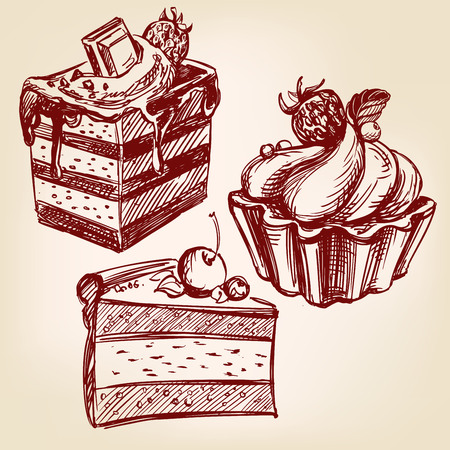 fruitcakes: cakes fast food set hand drawn vector llustration realistic sketch Illustration