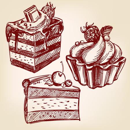 cakes fast food set hand drawn vector llustration realistic sketch Illustration