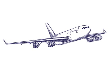 departure board: airliner, aircraft hand drawn vector llustration realistic sketch