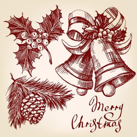 christmas decorations: Christmas decorations set hand drawn vector llustration realistic sketch Illustration