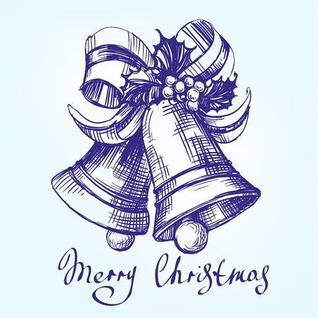 hand bells: Christmas bells hand drawn vector llustration realistic sketch