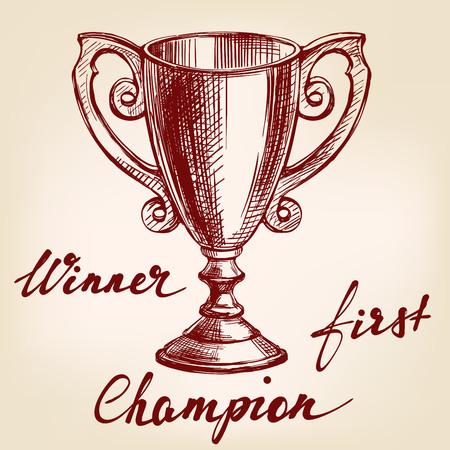 Award cup trophy hand drawn vector llustration sketch Illustration
