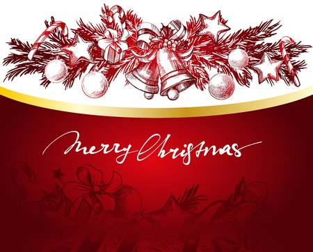 red gold: Christmas red and gold background with fir twigs and balls hand drawn vector llustration realistic sketch