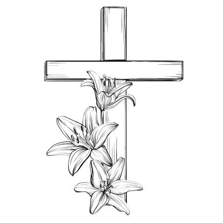 cruz y lirios en flor florales, un símbolo del cristianismo croquis dibujado a mano vector llustration