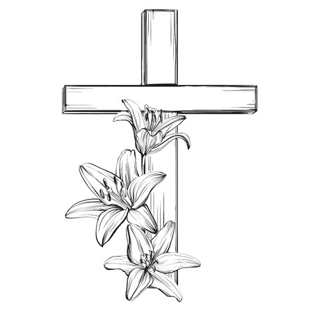 kruis en bloemen bloeien lelies, een symbool van het christendom hand getekende vector llustration schets Stock Illustratie