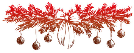 Christmas background with fir twigs and balls hand drawn vector llustration realistic sketch
