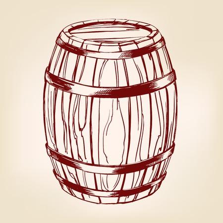 barrel: barrel wooden wine or beer hand drawn vector llustration realistic sketch Illustration