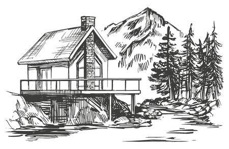house in mountain landscape hand drawn vector illustration realistic sketch Illustration
