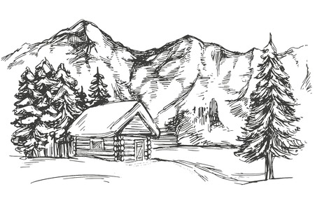 house in mountain the snow landscape hand drawn vector illustration realistic sketch