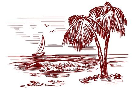 Summer beach landscape hand drawn vector illustration Illustration