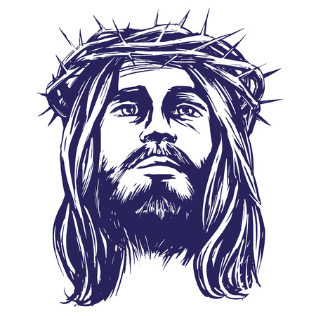 Jesus Christ, the Son of God in a crown of thorns on his head, a symbol of Christianity hand drawn vector llustration realistic sketch