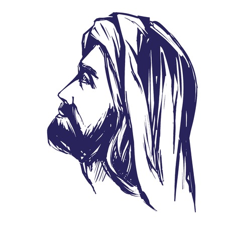 righteous: Jesus Christ, the Son of God, symbol of Christianity hand drawn vector illustration sketch