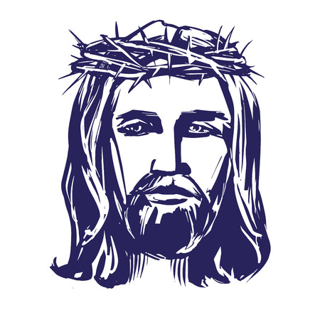 jesus christ crown of thorns: Jesus Christ, the Son of God in a crown of thorns on his head, a symbol of Christianity hand drawn vector illustration realistic sketch