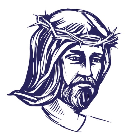 righteous: Jesus Christ, the Son of God in a crown of thorns on his head, a symbol of Christianity hand drawn vector illustration realistic sketch