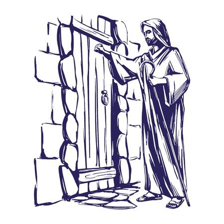 Gesù Cristo, Figlio di Dio, bussare alla porta, simbolo della cristianità disegnati a mano illustrazione vettoriale Sketch Vettoriali