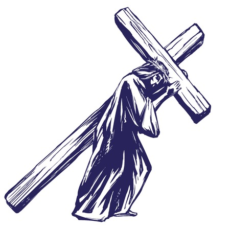Jezus Christus, de Zoon van God draagt het kruis voor de kruisiging, symbool van het christendom hand getrokken vector illustratie schets