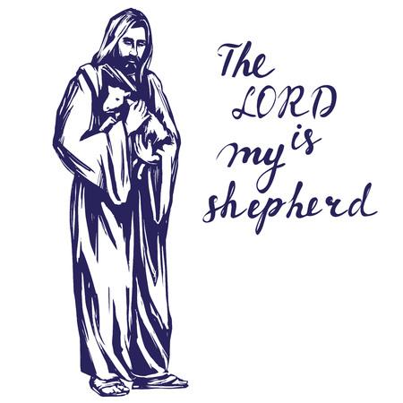 Jésus-Christ, Fils de Dieu, tenant un agneau dans ses mains, symbole du christianisme dessin dessiné à la main Vecteurs