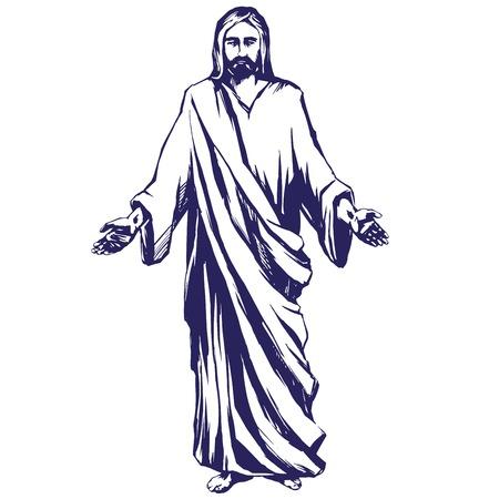 Gesù Cristo, il Figlio di Dio, simbolo della cristianità illustrazione vettoriale mano disegnato schizzo