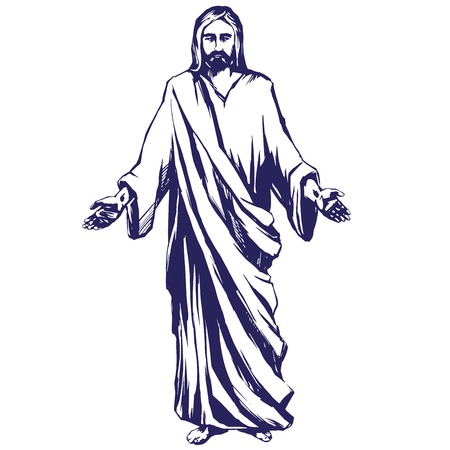 risen: Jesus Christ, the Son of God , symbol of Christianity hand drawn vector illustration sketch