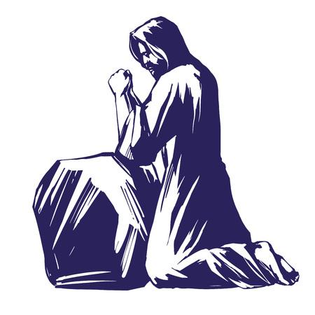 Jesucristo, el Hijo de Dios orando en el jardín de Getsemaní, símbolo del cristianismo boceto de ilustración de vector dibujado a mano