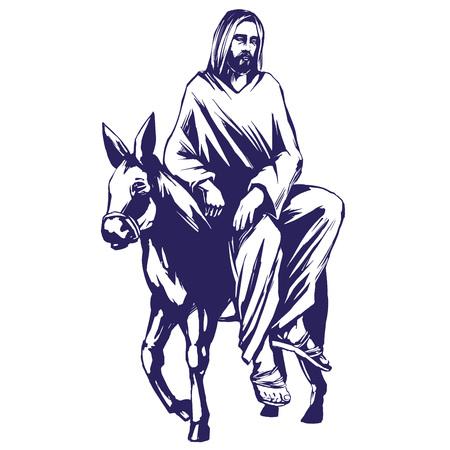 christianity palm sunday: palm Sunday, Jesus Christ rides on a donkey into Jerusalem , symbol of Christianity hand drawn vector illustration sketch