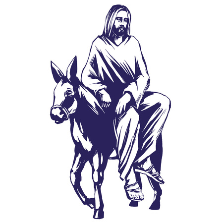 palm Sunday, Jesus Christ rides on a donkey into Jerusalem , symbol of Christianity hand drawn vector illustration sketch