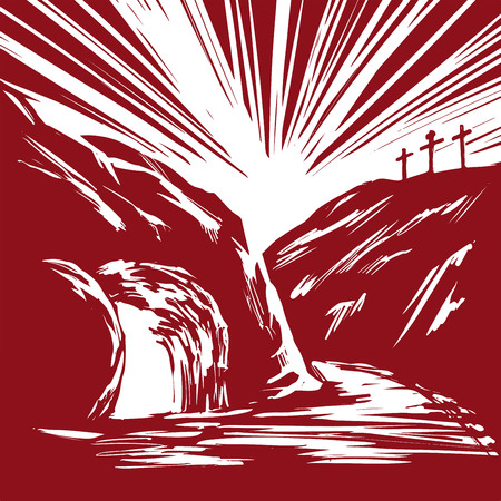 Easter Jesus Christ rose from the dead. Sunday morning. Dawn. The empty tomb in the background of the crucifixion. symbol of Christianity hand drawn vector illustration sketch
