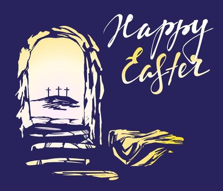 Pâques Jésus-Christ est ressuscité d'entre les morts. La tombe vide dans le fond de la crucifixion. Vecteurs