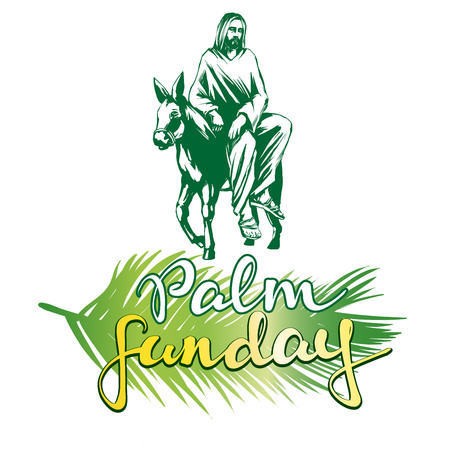 シュロの聖日のエルサレムは、キリスト教のベクトル図スケッチのロゴのシンボルにロバにイエス ・ キリストの乗り物