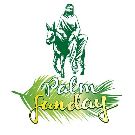 손바닥 일요일, 예 수 그리스도 예루살렘에 당나귀 타기, 기독교 벡터 그림 스케치 로고의 상징 일러스트